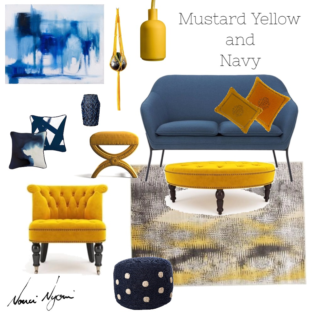 Mustard and Navy Mood board created in Style Source book by Nonci Nyoni
